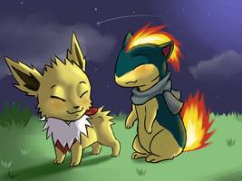 Quilava and Jolteon by Endriand