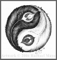 Feather Yin-Yang design by rachaelm5