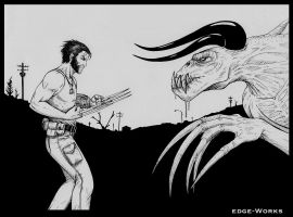 Fallout Wolverine vs Deathclaw by Edge-Works