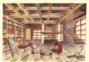 Library Interior Perspective by Laura-Pietrusel