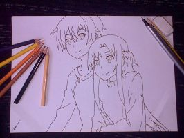 sword art online: kirito and asuna the process by katy181