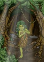 The forest little girl by araeld