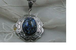 Blue Opal in Ornate Silver Frame Necklace 50% off! by artistiquejewelry