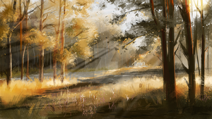 Speedpainting #1 - autumn forest by Clovernight