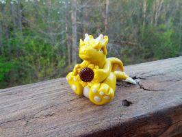 Little Fat Springtime Dragon with Sunflower by LittleFatDragons