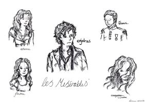 Les Miserables sketches by pegasuslolly
