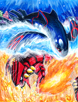 Kyogre VS Groudon by matsuyama-takeshi