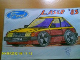 1983 Ford Laser Car Toon by artluvr4life