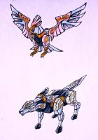 air eagle and light wolf by kishiaku