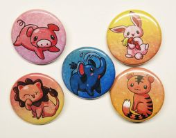 chibi animal button pack by michellescribbles