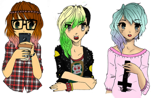 Hipster, Punk And Pastel Goth {Colored} by GlowingOwls