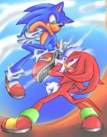 Sonic V.s Knuckles: Colored by Chicaaaaa