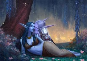 C: Night Elf Couple by MissNovemberRain