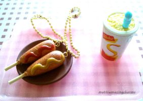 Polymer Clay Hot Dog On A Stick BFF Key Chains! by mattiemazingcharms