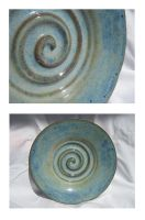 Blue Spiral Plate by GoldenSplash