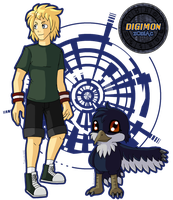 Digimon Zodiac: Alex and Skuamon by fox-song