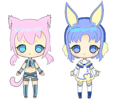Adoptables: Kitty and bunny [OPEN] by MidnightAdoptss