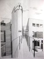 pen drawing building 2 by wwei