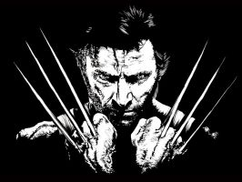 HUGH JACKMAN IN BLACK AND WHITE WALLPAPER by kevinandy