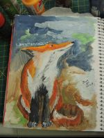 I painted a fox in my art journal! by JennyArchibald