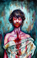 watercolor zombie lady by neuehaasgrotesk