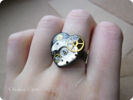 Steampunk heart-shaped ring by IkushIkush