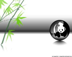 Panda in the Ball with Bamboo by Matuzalein