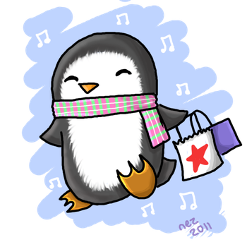 Shopping Penguin by Nezzykins