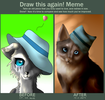 Draw this again meme, Cat with hat by BlackLightning95