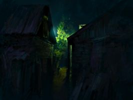 Night in a Russian village by Pervandr