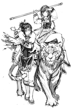 CONCEPT: Wuxia Overwatch - DVA and Mei by RobotCatArt