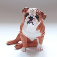 Red English Bulldog Figurine by Kesa-Godzen