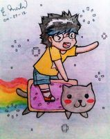 Me and the Nyan Cat by catnappe143