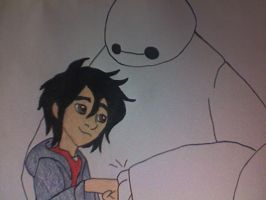 Hiro and Baymax and their Fist Bump of Friendship by Kailie2122