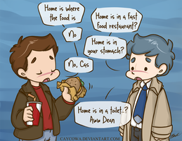 Destiel - Cheeseburgers are life by caycowa