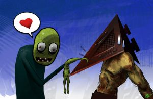 Salad Fingers vs Pyramid Head by dinmoney