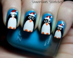 Festive holiday Penguin nail art by SamariumsSwatches