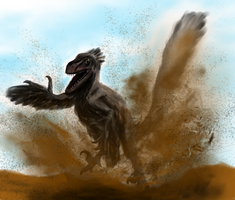 Velociraptor pounces by Sketchy-raptor