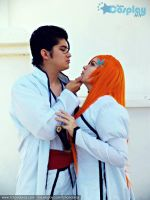 Bleach cosplay orihime x aizen by Blancaliliam