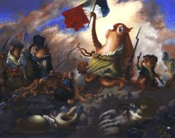 Liberty Leading the Cephalopods by MegLyman
