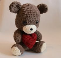 I crocheted a bear just in time for Valentines Day by Tessa4244