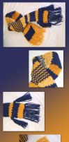 Blue and gold scarf by Vivienne-Mercier