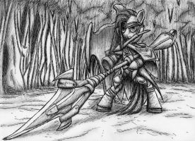 my little monster hunter - Pinkamena pen sketch by MetaDragonArt