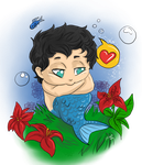 Hannibal mermaid AU - Baby Will and the garden by FuriarossaAndMimma