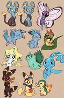Pokemon doodles by geckoZen