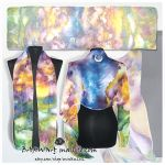Silk Scarf MOUNTAINS SUNSET hand painted by MinkuLul