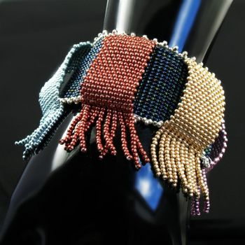 Loops and Fringes - bead loomed cuff by CatsWire