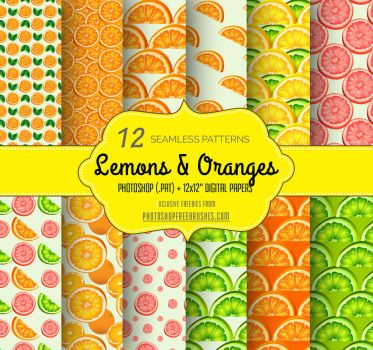 Lemons and Oranges: 12 Free Fruity Patterns by fiftyfivepixels