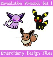 Eeveelution Pokedoll Set 1 [EMBROIDERY FILES] by TheHarley