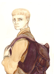 Boy with backpack by RominaSantana-Art